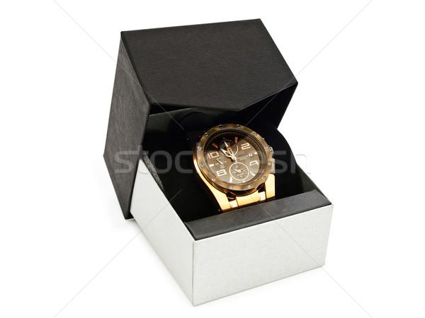 Luxus férfi óra ajándék doboz fehér divat Stock fotó © SRNR
