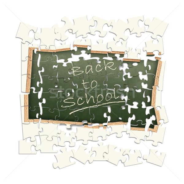 Onzeker terug naar school Blackboard opschrift school frame Stockfoto © SRNR