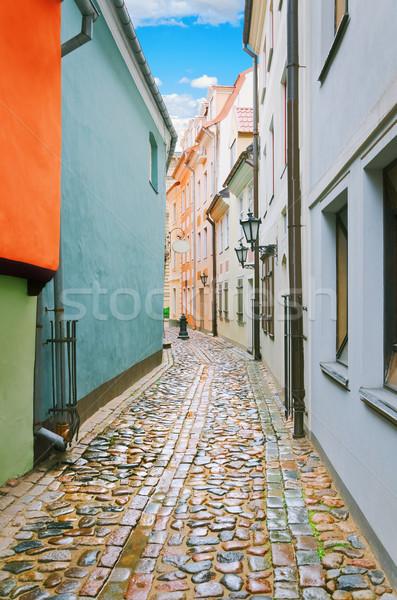 Smal straat stad reizen gebouwen architectuur Stockfoto © SRNR