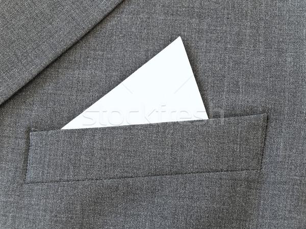 Közelkép öltöny zseb fehér zsebkendő Stock fotó © SRNR