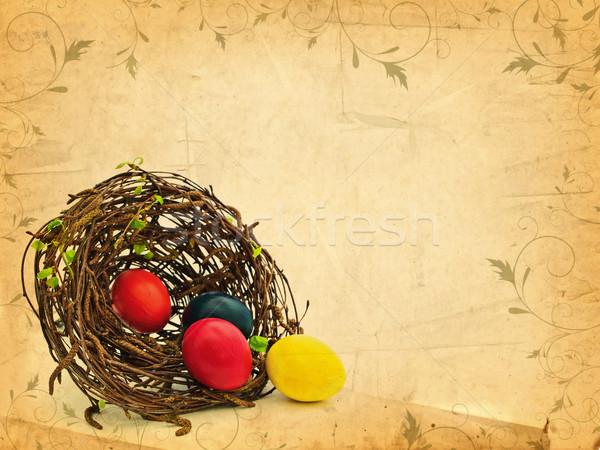 ヴィンテージ イースター 自然 巣 緑の葉 色の卵 ストックフォト © SRNR