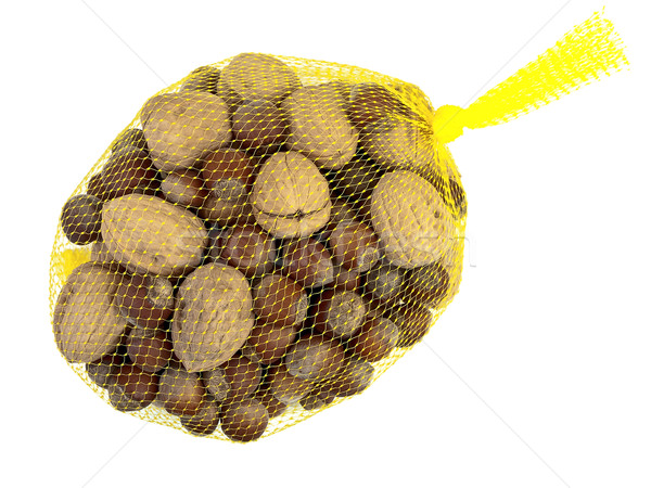 Hazelnoten foto walnoot Geel voedsel achtergrond Stockfoto © SRNR