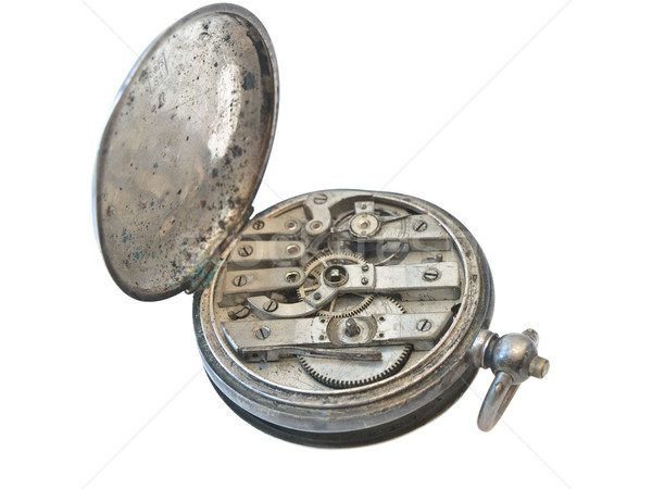 Back side of old silver clock over the white background  Stock photo © SRNR