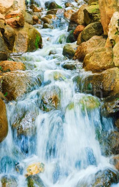 Kaskade wenig Wasser Stadt Garten rock Stock foto © SRNR