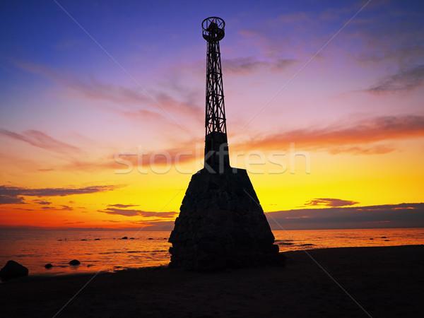 Jelzőtűz épület építkezés naplemente természet tájkép Stock fotó © SRNR