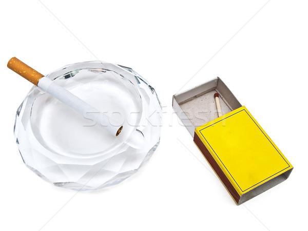 Küllük sigara maç beyaz sağlık sigara Stok fotoğraf © SRNR