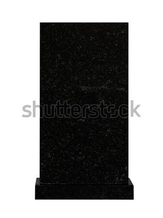 Lápide vazio preto granito isolado branco Foto stock © SRNR