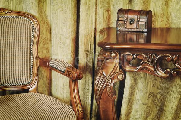 Fragment interieur antieke meubels vak bureau Stockfoto © SRNR