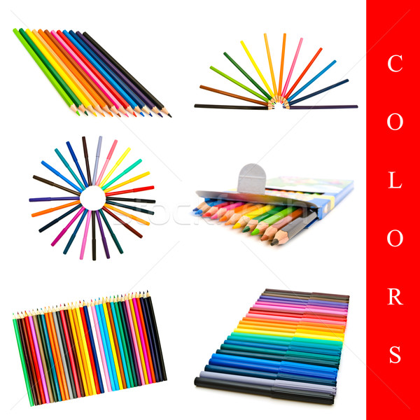 Photo stock: Couleurs · différent · crayons · blanche
