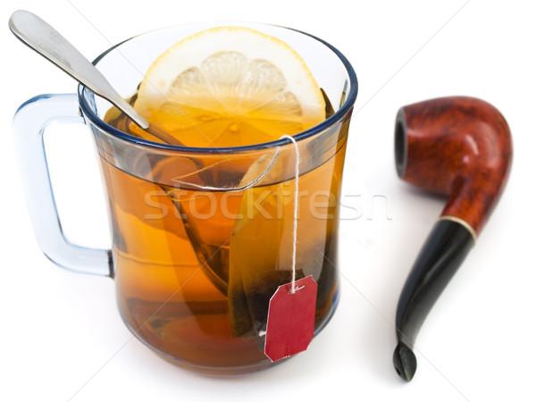 Taza té limón humo beber relajarse Foto stock © SRNR