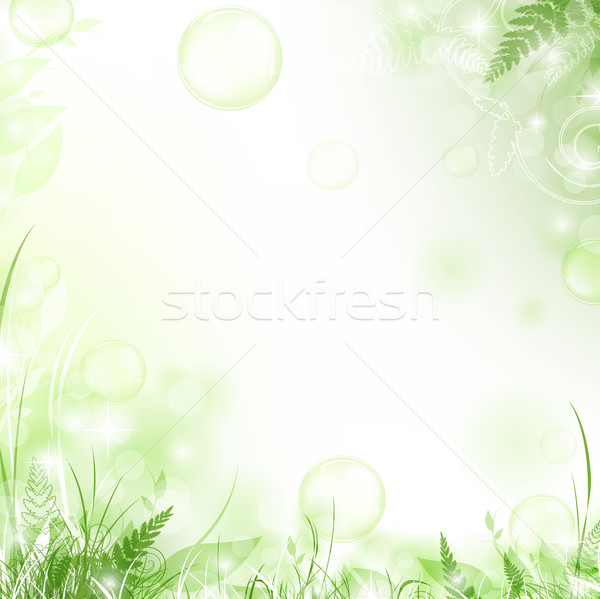 Photo stock: Floral · cadre · nature · air · bulles · printemps