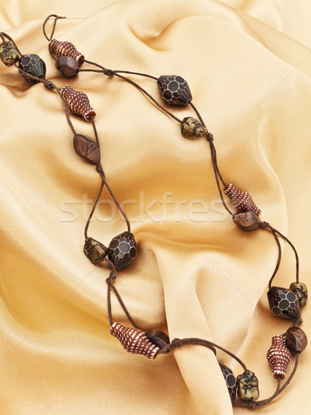 Moda kolye ahşap el yapımı altın tekstil Stok fotoğraf © SRNR