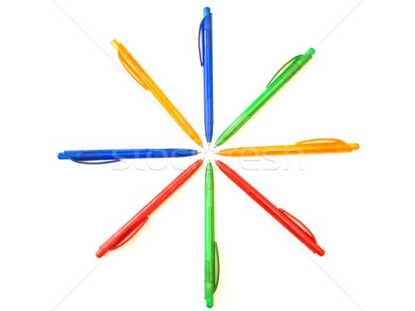 Multicolored ballpoint pens in sun form Stock photo © SRNR