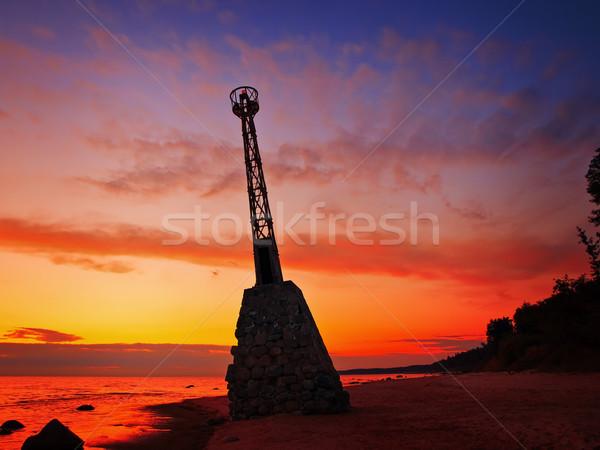 Baken gebouw bouw zonsondergang natuur landschap Stockfoto © SRNR