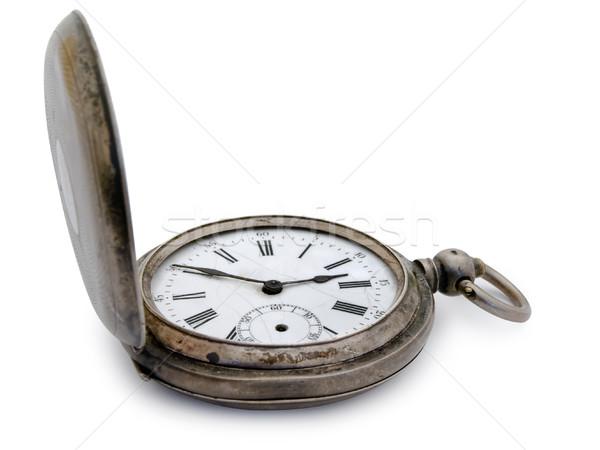 Zilver zakhorloge Open oude witte hand Stockfoto © SRNR