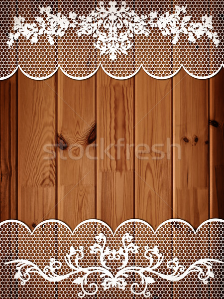 wooden background with lace frame Stock photo © SRNR
