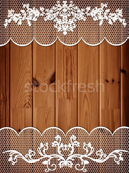 Ahşap dantel çerçeve beyaz ahşap duvar Stok fotoğraf © SRNR