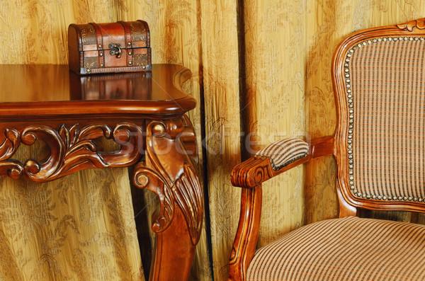 Fragment interieur antieke meubels vak stoel Stockfoto © SRNR