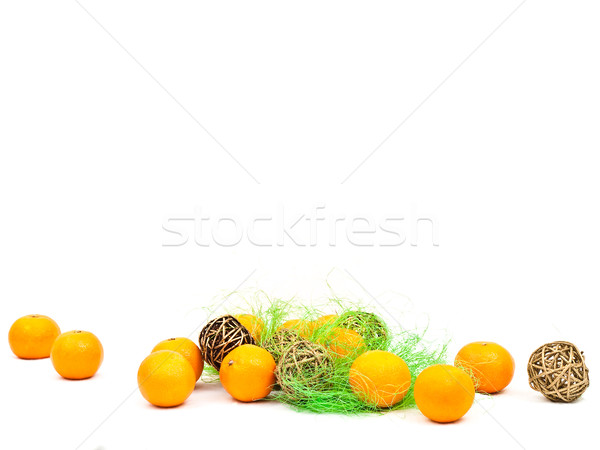 mandarines and golden balls with green Stock photo © SRNR