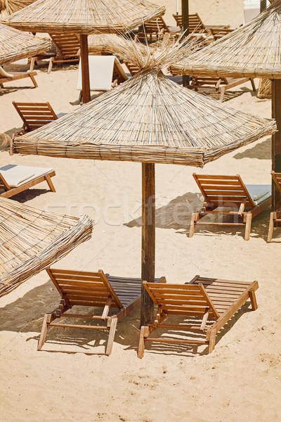 Guarda-chuvas sol salão guarda-chuva recorrer palha Foto stock © SRNR