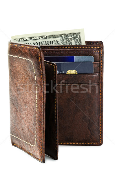 Carteira genuíno couro branco dinheiro numerário Foto stock © SRNR