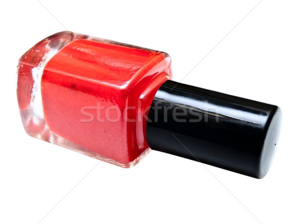 Unha polonês garrafa vermelho branco cuidar líquido Foto stock © SRNR