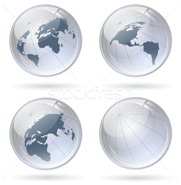 Földgömb fényes golyók világ internet üveg Stock fotó © SRNR