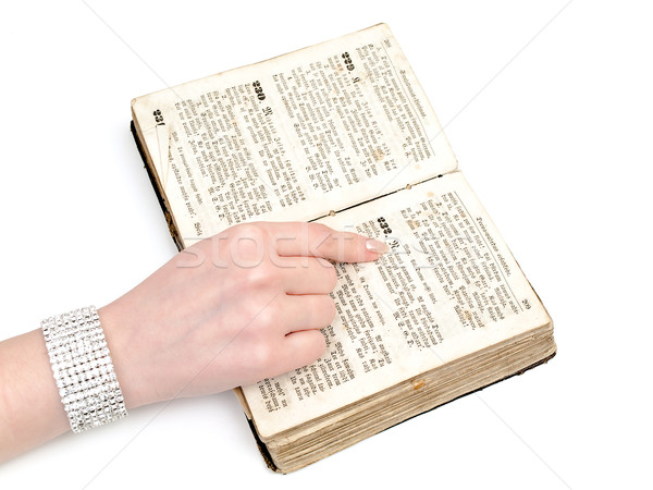 Mulher leitura velho livro branco biblioteca aprendizagem Foto stock © SRNR