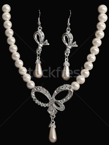 Conjunto luxo jóias pérola colar brincos Foto stock © SRNR