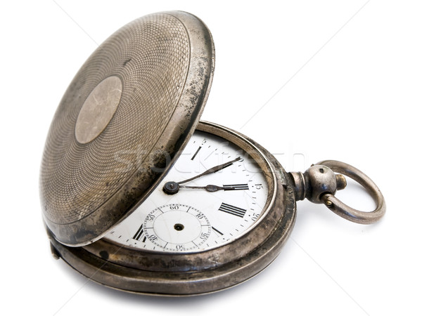 Plata reloj de bolsillo abierto edad blanco mano Foto stock © SRNR