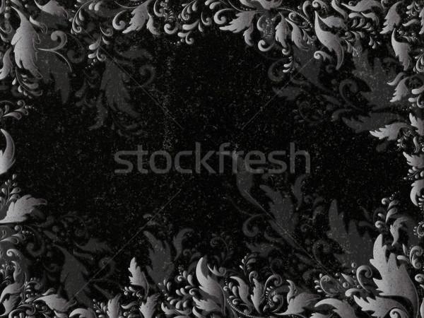 Decorado granito floral decoração preto lápide Foto stock © SRNR