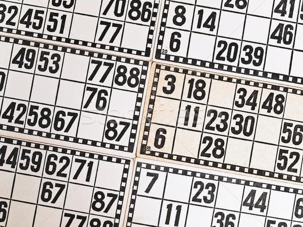 Lottó fehér kártyák számok háttér játék Stock fotó © SRNR
