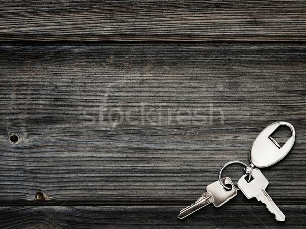 Kulcsok kulcstartó fából készült fa padló tábla Stock fotó © SRNR