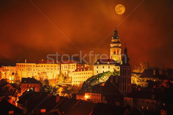 Castelo cidade velha noite República Checa cidade parede Foto stock © SRNR