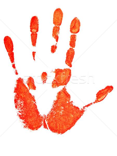 Mână imprima roşu alb vopsea deget Imagine de stoc © SRNR