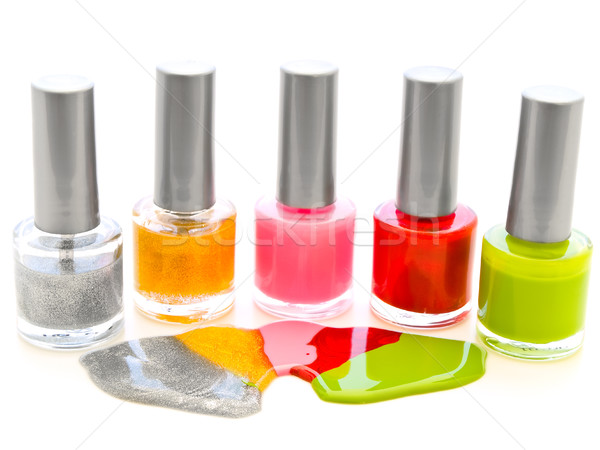 Unha polonês branco cor cosméticos manicure Foto stock © SRNR