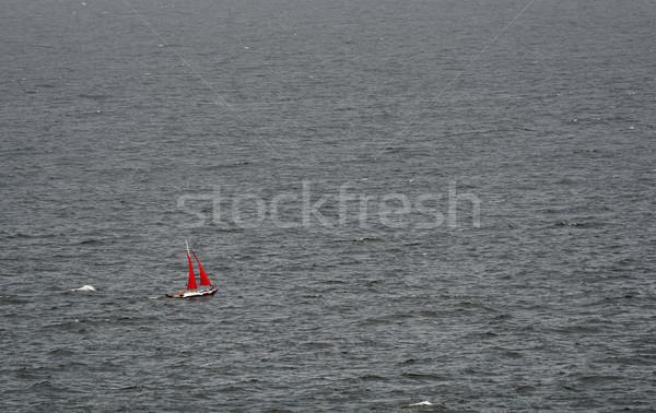 Minimalismo velero rojo abierto mar agua Foto stock © SRNR