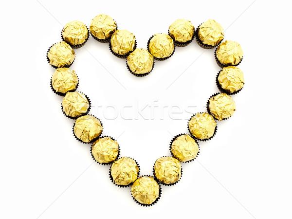 Cukorka szív alak édesség arany étel arany Stock fotó © SRNR