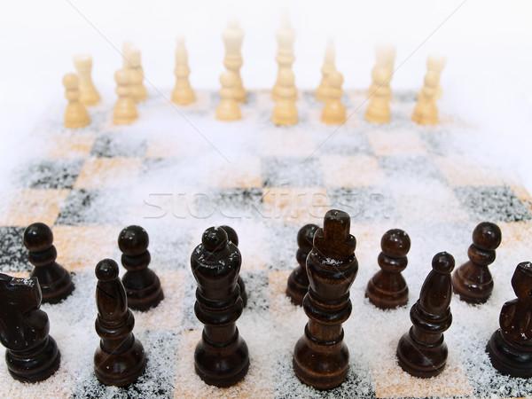chessboard in snow Stock photo © SRNR