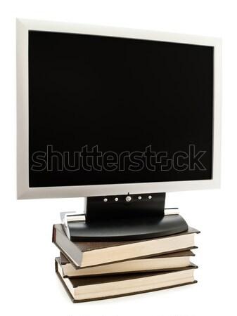 Monitor felső könyvek boglya modern tárgy Stock fotó © SRNR