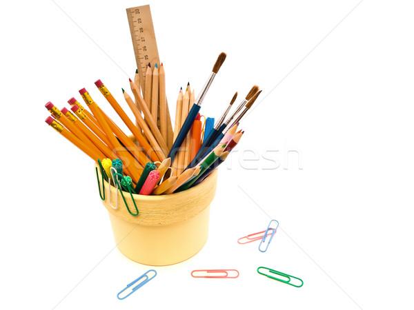 Kırtasiye farklı beyaz kalem eğitim Stok fotoğraf © SRNR