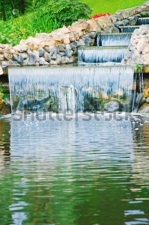 Kaskada mały wody miasta parku rock Zdjęcia stock © SRNR
