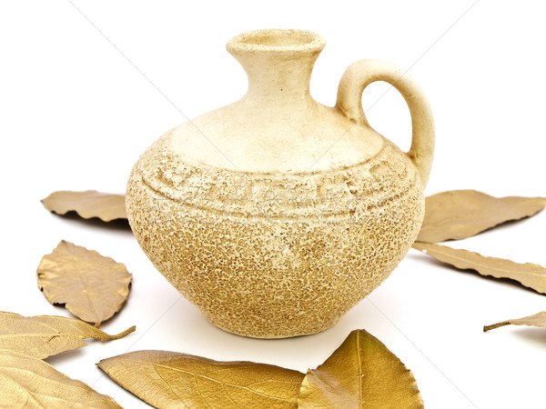 Vase And Bay Leaves Stock photo © SRNR