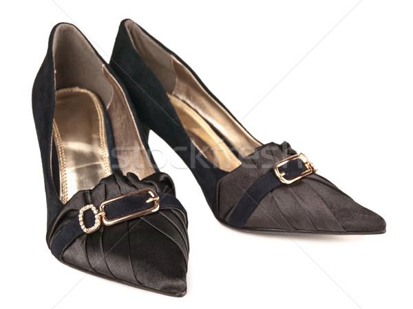 Kobieta klasyczny buty biały czarny buty Zdjęcia stock © SRNR