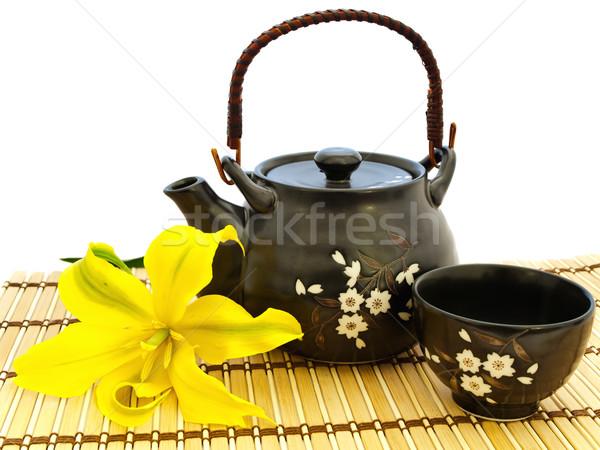 Stockfoto: Thee · ingesteld · lelie · bloem · keuken · tabel