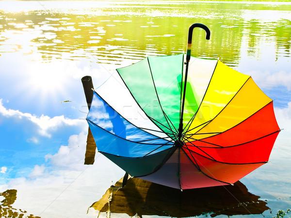 Mehrfarbig Dach Wasser Sommer Regenbogen Farben Stock foto © SRNR