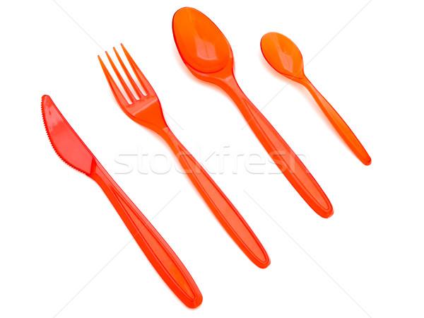 Garfo faca colheres vermelho plástico branco Foto stock © SRNR