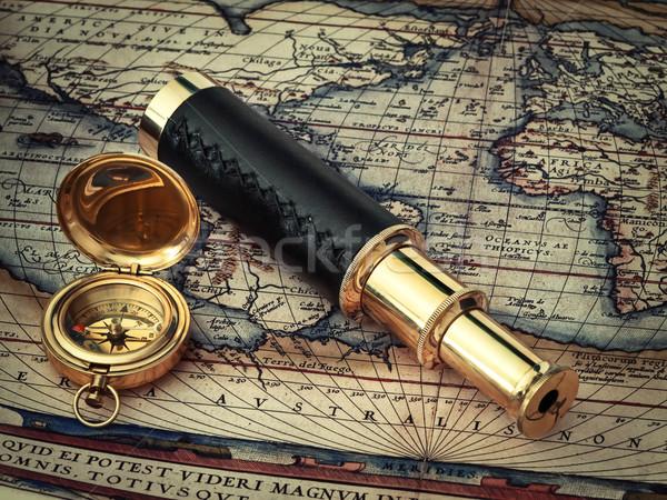путешествия Vintage телескопом компас антикварная Сток-фото © SRNR
