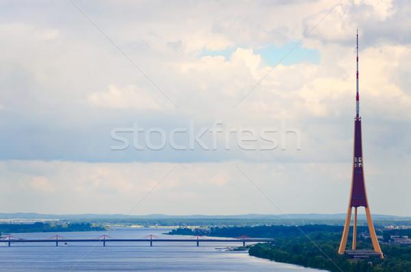 Riga Látvia céu edifício ponte urbano Foto stock © SRNR