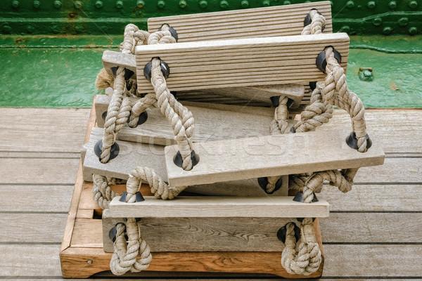 лестнице сложенный совета лодка Сток-фото © SRNR